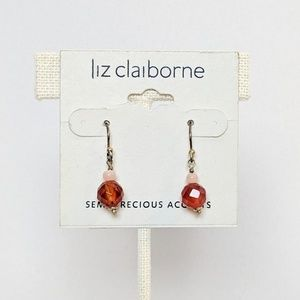 Liz Claiborne Red and Pink Semi Precious Earrings